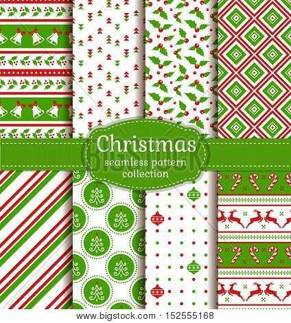 Merry Christmas and Happy New Year! Set of cute seamless backgrounds with holiday symbols: candy cane christmas tree deer holly christmas ball bells and abstract patterns. Vector collection.