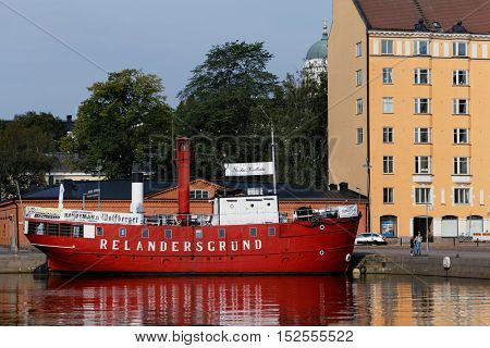 HELSINKI, FINLAND - AUGUST 21, 2016: Cafe on the retro lightship Relandersgrund at the North Beach. The ship was built in 1886-1888, but since 1990s used as cafe
