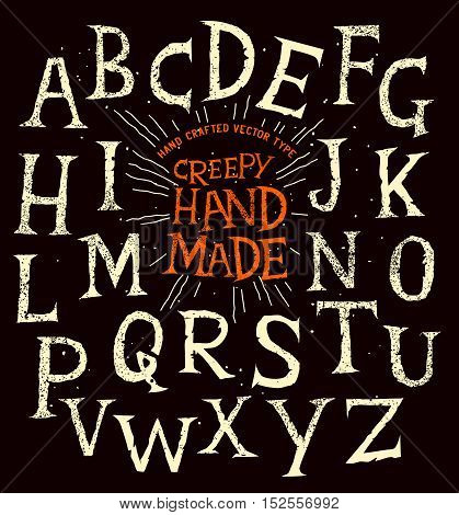 Creepy old halloween hand made alphabet lettering. Vector illustration.