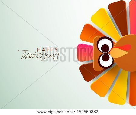 Cute colorful Turkey Bird for Happy Thanksgiving Day celebration.