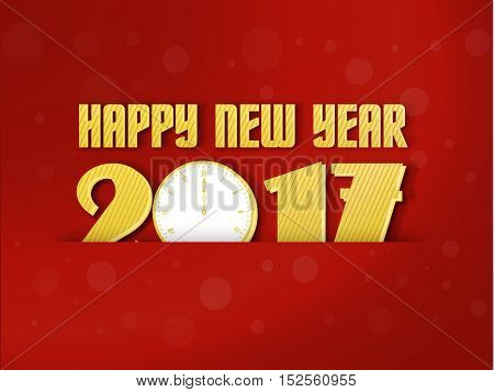 Happy New Year greeting card design with stylish text 2017 and clock showing midnight time on red background.