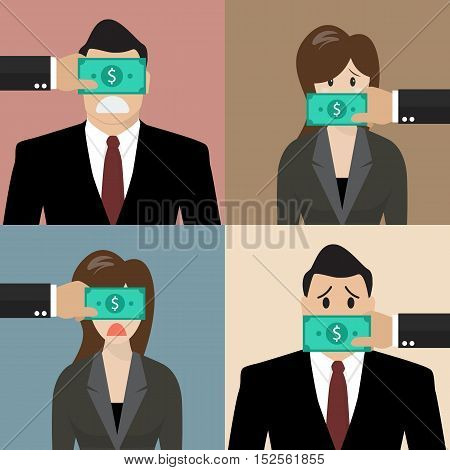 Set of bribery concept. Business people with dollar banknote taped to eyes and mouths