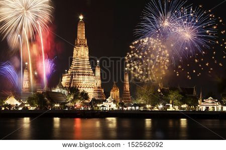 exotic new year - Bangkok new year countdown fireworks at Wat Arun Temple, Bangkok, Thailand.
