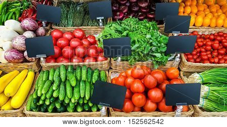 Fresh vegetables on shelf in supermarket. Food