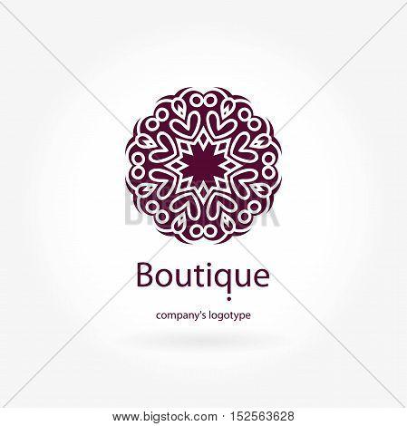 Beautiful bright juicy circular company logo, mark, emblem, element for boutique, sweets. Simple geometric mandala logotype. Business, invitations. Kaleidoscope flower. Islam, Arabic, Indian.