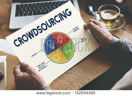 Crowdsourcing Data Pie Graph Concept