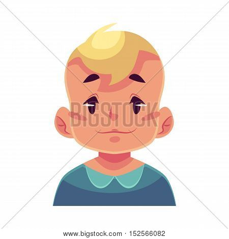 Little boy face, neutral facial expression, cartoon vector illustrations isolated on white background. Blond male kid emoji face feeling glad, serene, relaxed, delighted. Neutral face expression