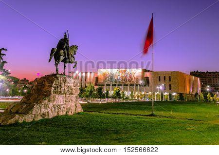 Skanderbeg Square with his statue in Tirana - Albania