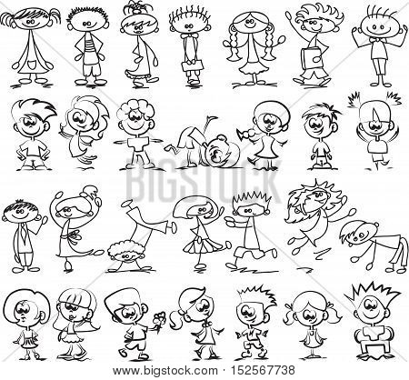 Cute happy cartoon doodle kids, llustration picture