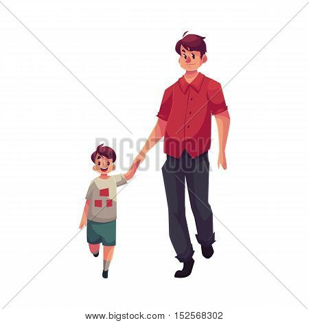 Father and son walking together, cartoon vector illustrations isolated on white background. Young handsome dad holding his little son hand and walking together, happy family concept