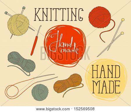 set of elements for design - skeins of thread, needles, hook