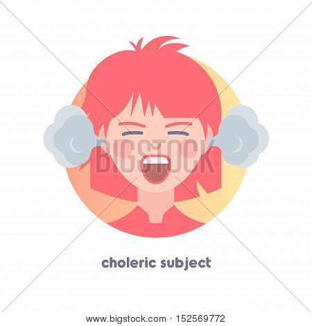 Choleric subject image. Type of temperament. Flat icon of yelling girl with smoke from her ears.  Modern vector illustration of woman with red hair. Image is out of circle range.