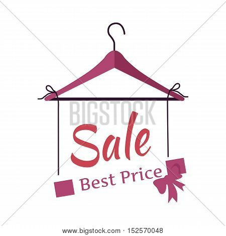 Best price sale banner. Fashionable clothes sale.Empty hanger isolated with sale sign.