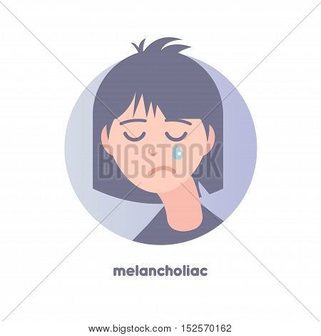 Melancholiac subject image. Type of temperament. Flat icon of crying slouching girl. Modern vector illustration of woman with black hair. Image is out of circle range. Avatar for web.