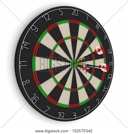 Dart Board With Three Canadian Flag Darts In Bullseye Isolated On White 3D Illustration