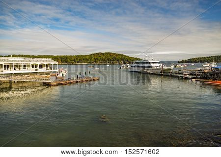 BAR HARBOR ME - OCTOBER 02: Dockside lobster restaurant in historic Bar Harbor ME on October 02 2016. Bar Harbor is a famous location in Down East Maine with a long history of lobstering.