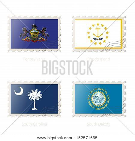 Postage Stamp With The Image Of Pennsylvania, Rhode Island, South Carolina, South Dakota State Flag.