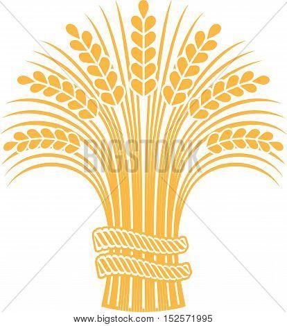 Golden ripe wheat sheaf. Vector decorative element brand icon or logo template.