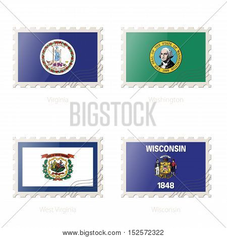Postage Stamp With The Image Of Virginia, Washington, West Virginia, Wisconsin State Flag.