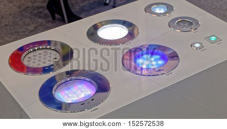 Color of led recessed spotlights. Spotlights to embed in the wall or in the floor. Many models on one stand