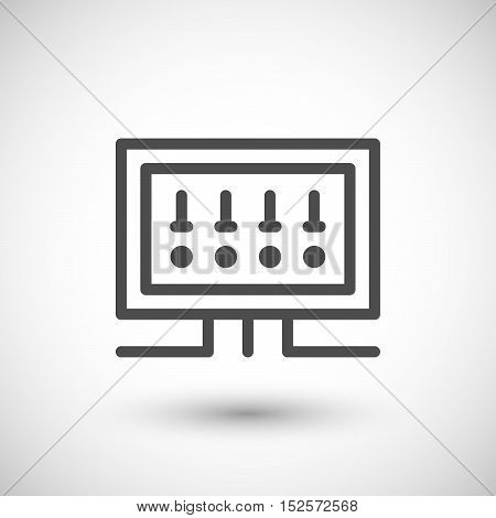 Fusebox line icon isolated on grey. Vector illustration
