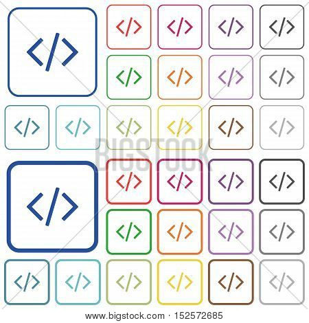 Set of programming code flat rounded square framed color icons on white background. Thin and thick versions included.