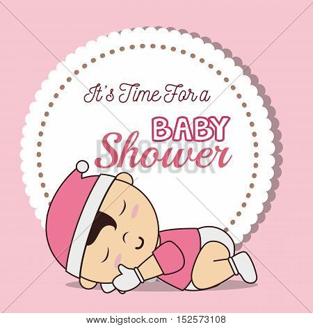 baby shower invitation with baby asleep vector illustration design