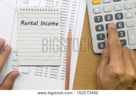 Planning monthly Rental income , finances concept
