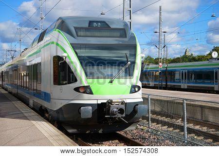 HELSINKI, FINLAND - AUGUST 28, 2016: Head car modern electric trains close up. Train station Helsinki. Tourist landmark