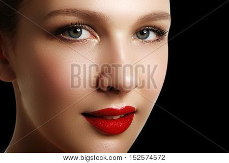 Portrait Of Elegant Woman With Red Lips. Beautiful Young Model W