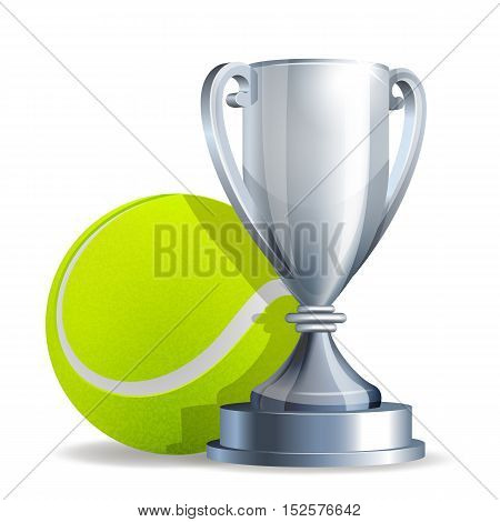 Silver trophy cup with a Tennis ball isolated on white background. Vector illustration