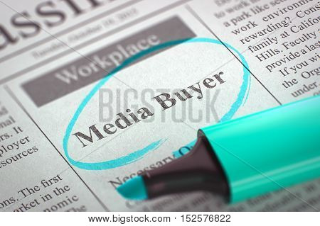 Media Buyer - Job Vacancy in Newspaper, Circled with a Azure Marker. Blurred Image. Selective focus. Job Seeking Concept. 3D Render.