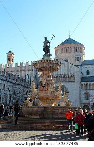 Fountaine Of Neptun In Trento, Italy