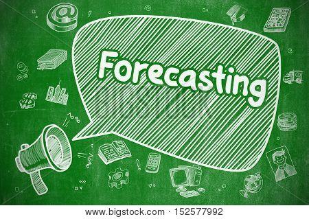 Forecasting on Speech Bubble. Cartoon Illustration of Shrieking Megaphone. Advertising Concept. Yelling Loudspeaker with Text Forecasting on Speech Bubble. Cartoon Illustration. Business Concept.