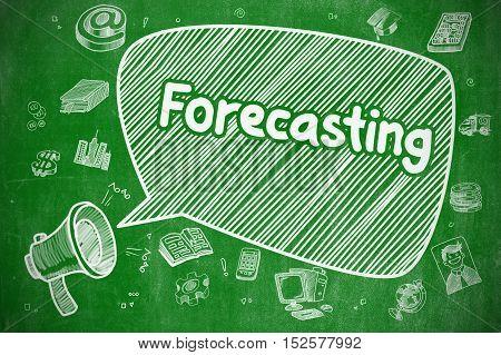 Forecasting on Speech Bubble. Cartoon Illustration of Shrieking Megaphone. Advertising Concept. Yelling Loudspeaker with Text Forecasting on Speech Bubble. Cartoon Illustration. Business Concept.