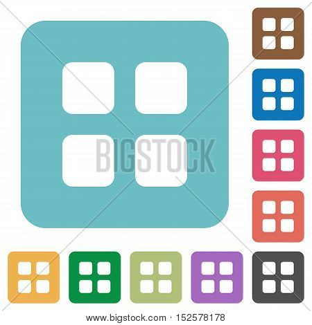 Flat large thumbnail view icons on rounded square color backgrounds.
