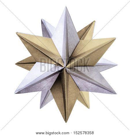 Otigami silver bronze geometric star on a white background