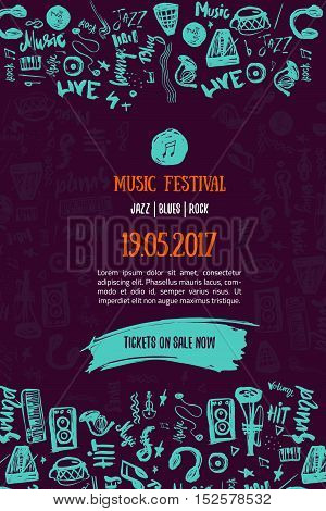 Music concert background. Festival modern flyer vector illustration. Music event Poster template design