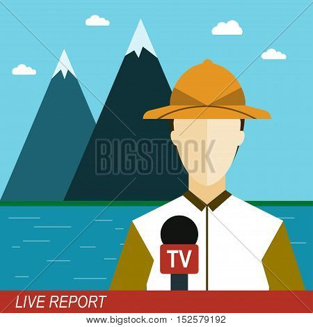 Live report Vector illustration News reporter man with microphone in the mountains Television broadcasting Flat design