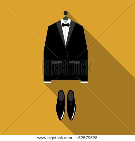 Tuxedo Vector illustration Classic tuxedo and black shoes on orange background Flat design