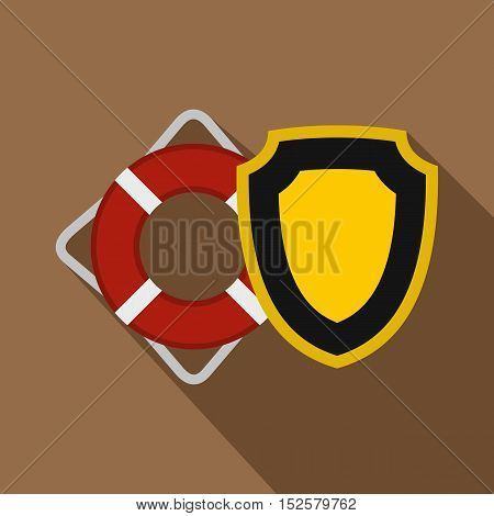 Lifebuoy and yellow safety shield icon. Flat illustration of lifebuoy and safety shield vector icon for web isolated on coffee background