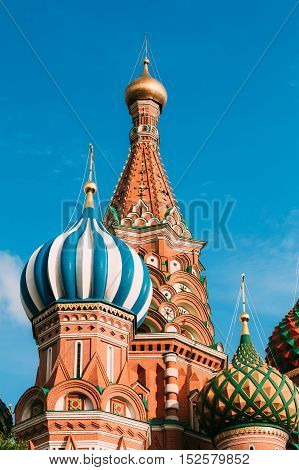 Domes of the Cathedral of Vasily the Blessed - Saint Basil's Cathedral, is a church in Red Square in Moscow, Russia.