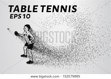 Table tennis from the particles. Table tennis of dots and circles.