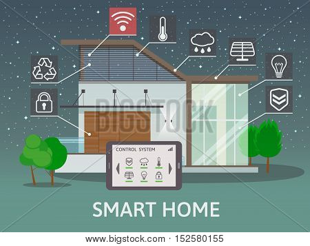 Modern Big Smart Home with terrace. Flat design style concept, centralized control system, at night. Vector illustration.