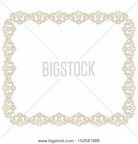 Golden vintage frame, baroque frame, scroll ornament frame, engraving border frame, floral frame, retro frame, pattern frame, antique frame, foliage frame, swirl decorative frame, filigree frame, calligraphy frame. vector