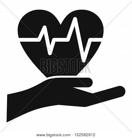 Hand holding heart with ecg line icon. Simple illustration of hand holding heart vector icon for web