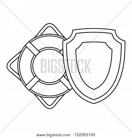 Lifebuoy icon. Outline illustration of lifebuoy and safety shield vector icon for web