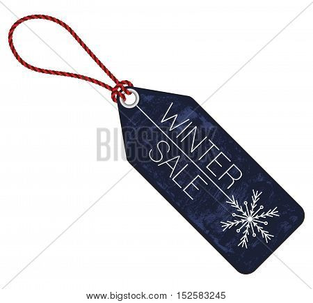 winter sale price tag isolated illustration on white background vector with textured parts and snowflake