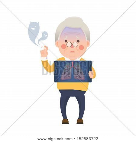 Vector Illustration of Old Man Smoking Cigarette While Holding X-ray Image Showing Lung Pulmonary Emphysema Problem, Cartoon Character, Devil Smoke