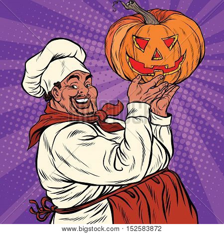 African American or Latino cook with a Halloween pumpkin, pop art retro vector illustration